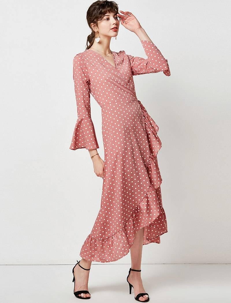 Long maxi polka dot ruffle wrap flare sleeve boho dress