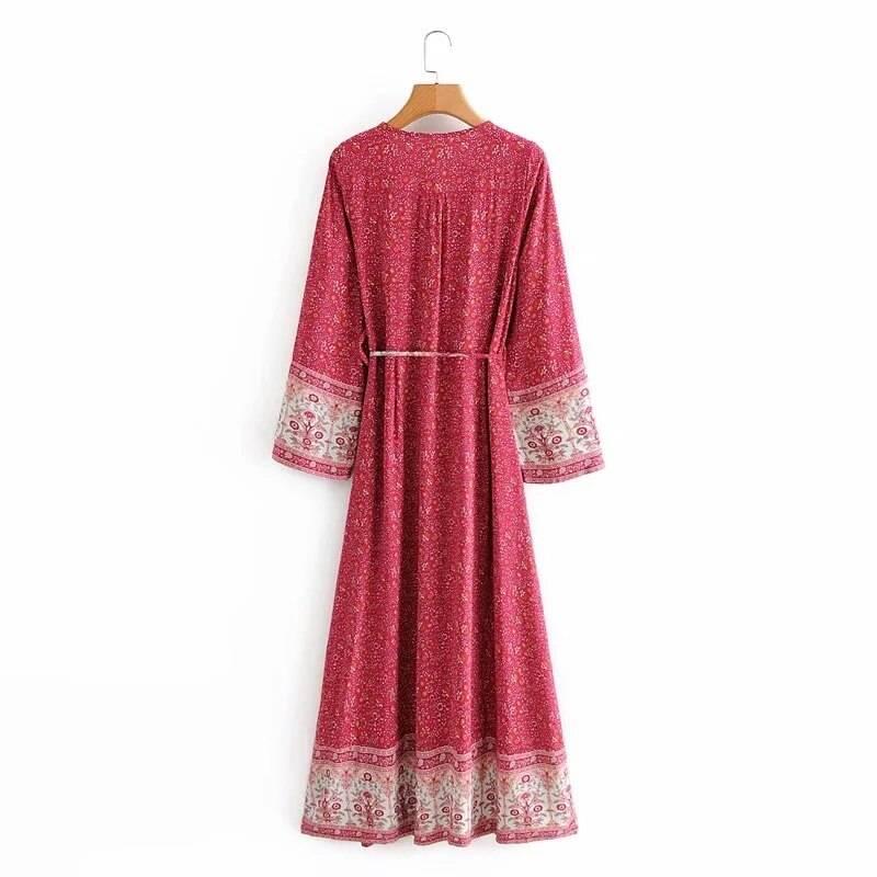 Flare long sleeve maxivintage cotton floral print deep v-neck dress