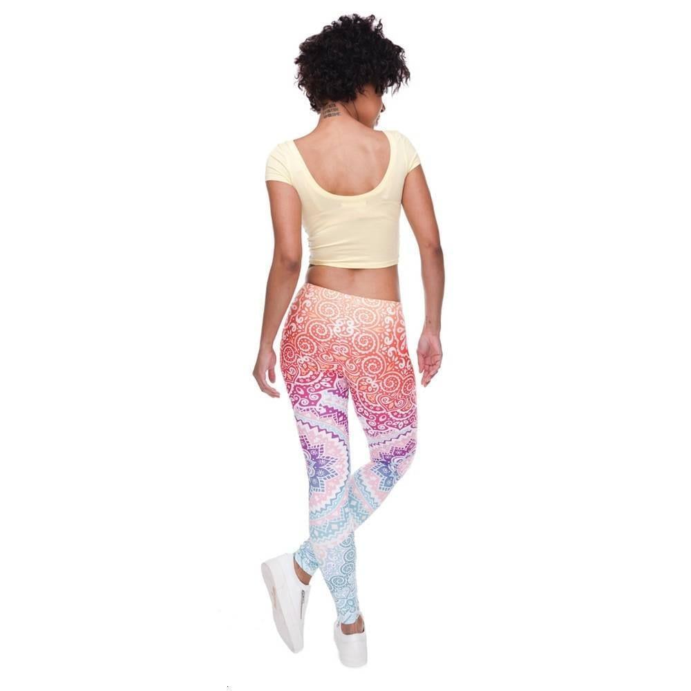 Aztec round ombre printing slim high waist leggings