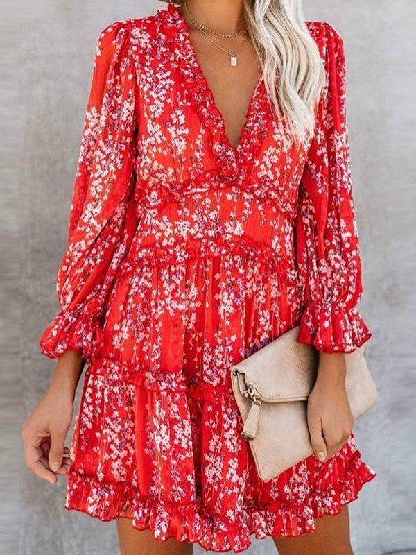 Sexy v-neck backless lantern sleeve ruffle dress