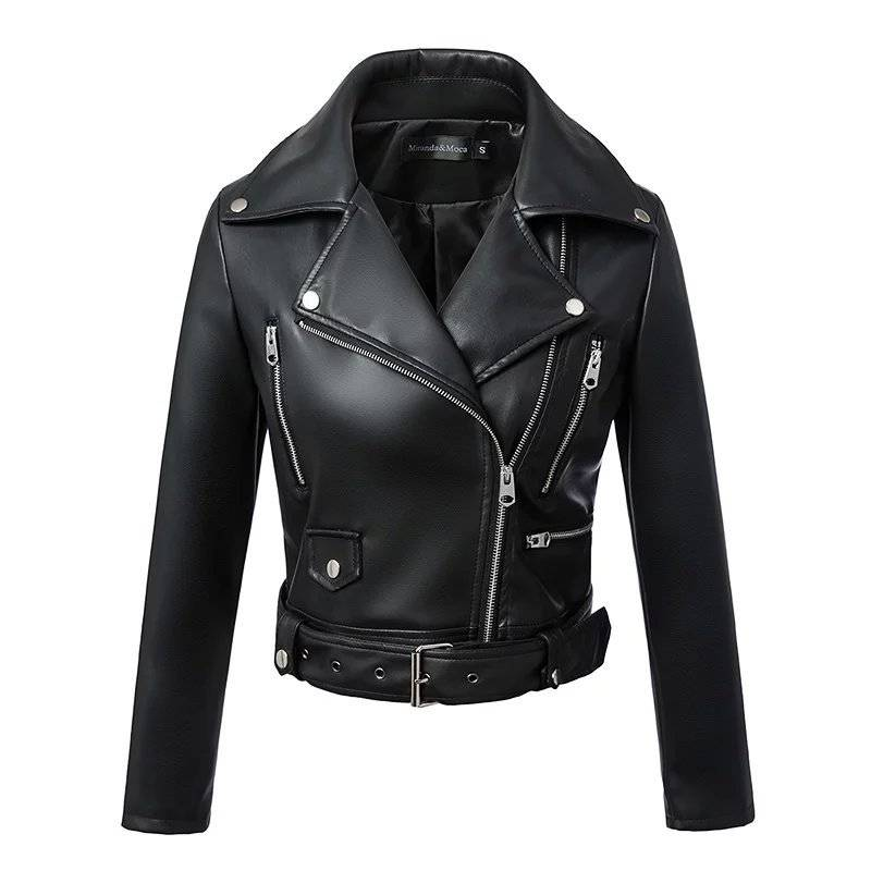 Black faux leather zipper turn-down collar motor biker jacket
