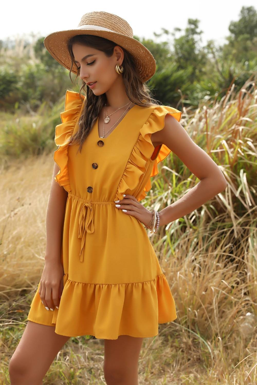 Ruffle off shoulder high waist v neck dress