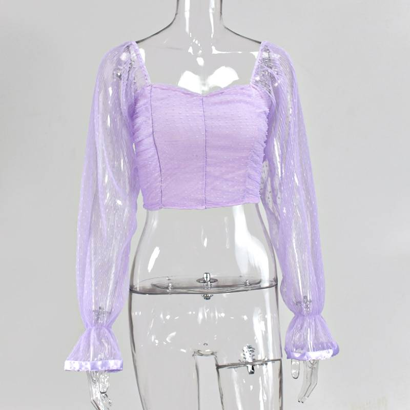 Polka dot mesh sweetheart lantern sleeve shirt
