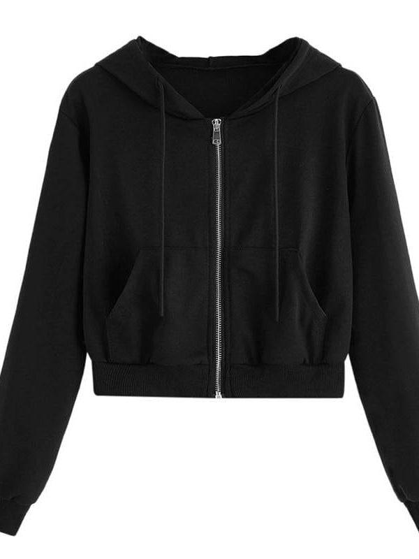 Fitshinling zip-up pockets slim crop hoodies
