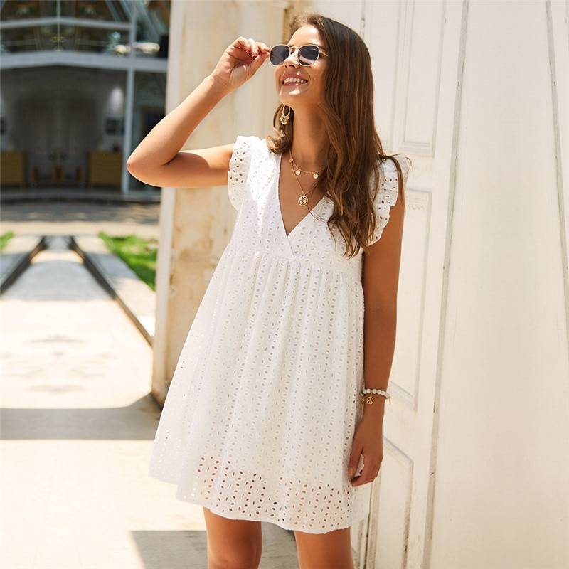 Hollow out v neck butterfly sleeve loose dress