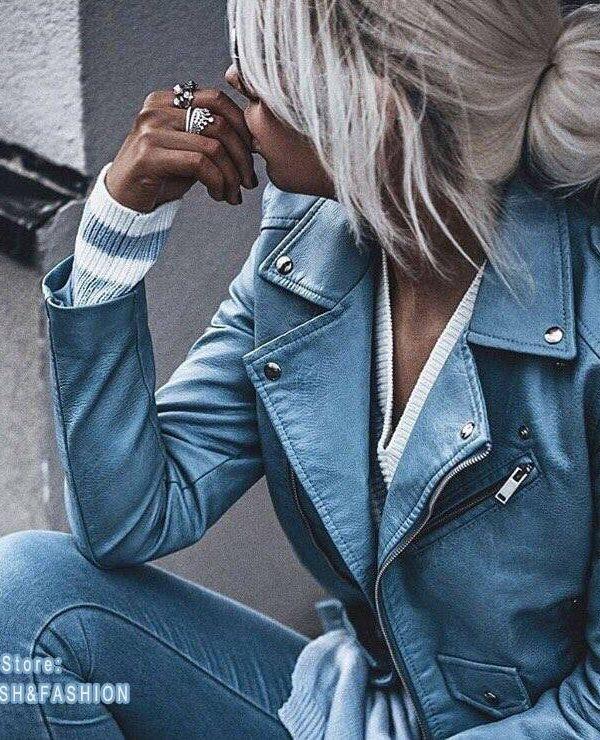 Motorcycle slim pu leather jacket