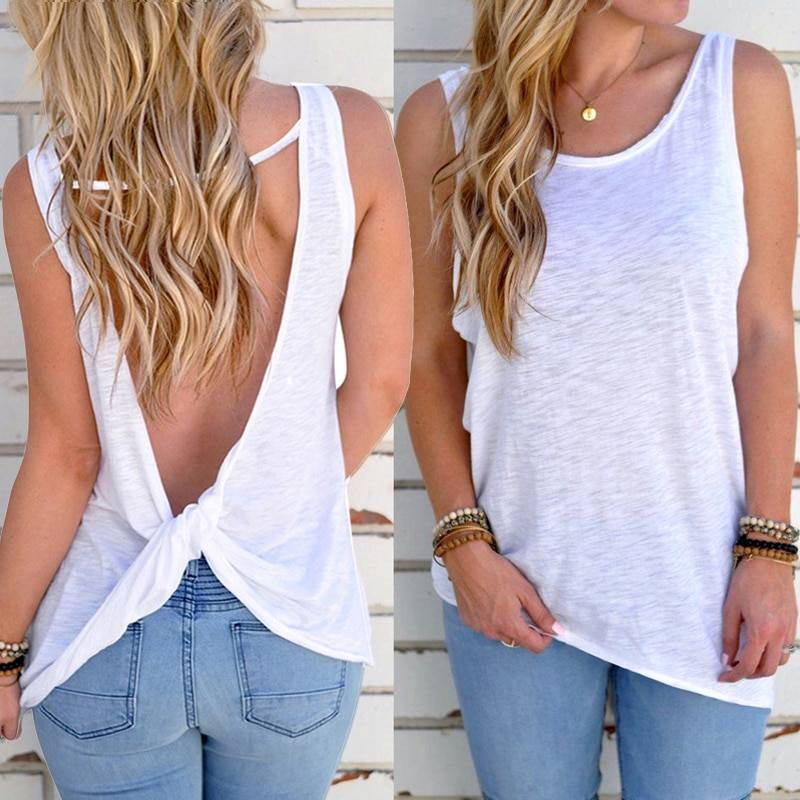 Sexy sleeveless backless knotted vest