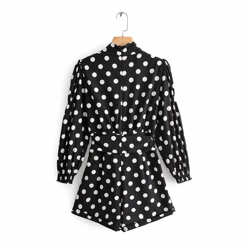 Chic polka dot print black long sleeve high waist with belt short jumpsuit