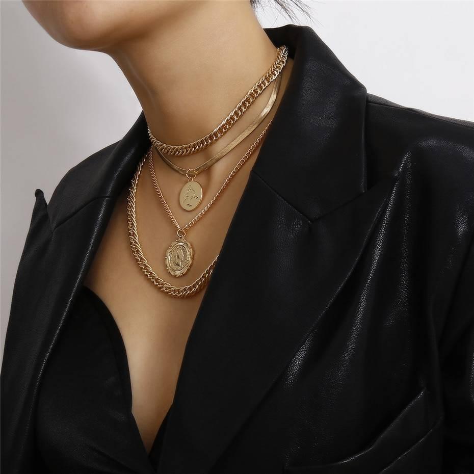 Vintage punk big coin choker necklace