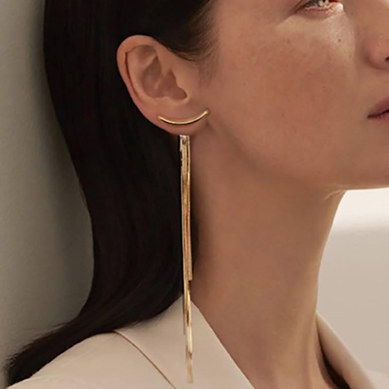 Vintage gold long thread tassel drop earrings