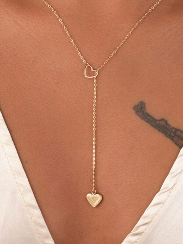 Copper heart chain link necklace