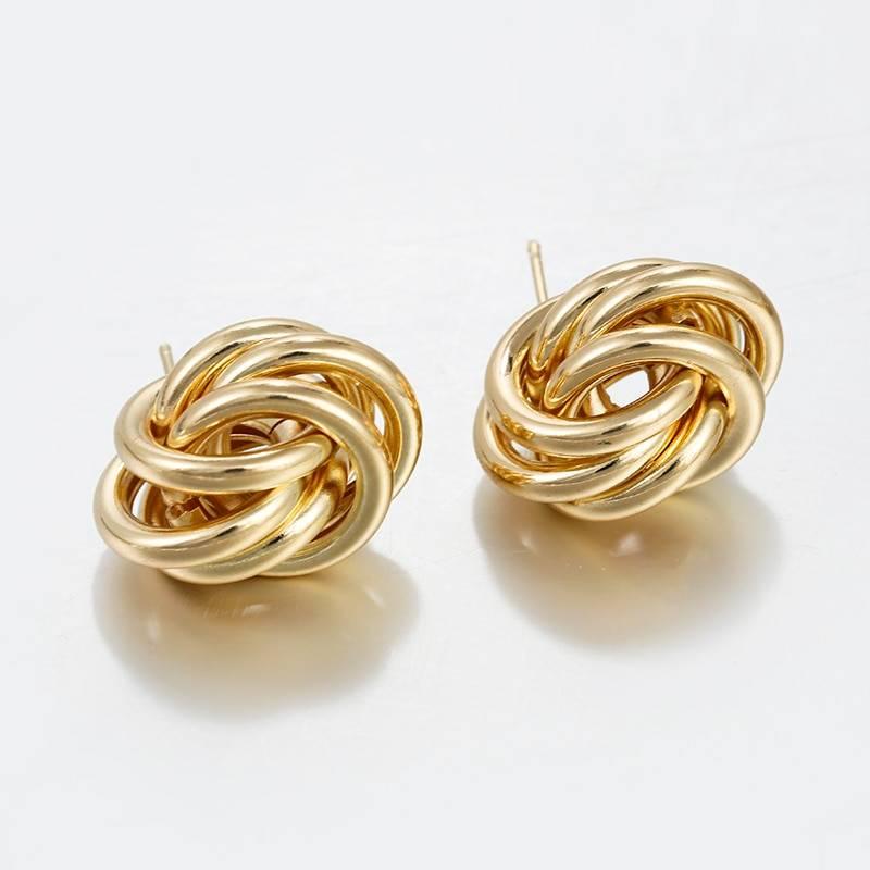Elegant simple gold alloy drop earrings