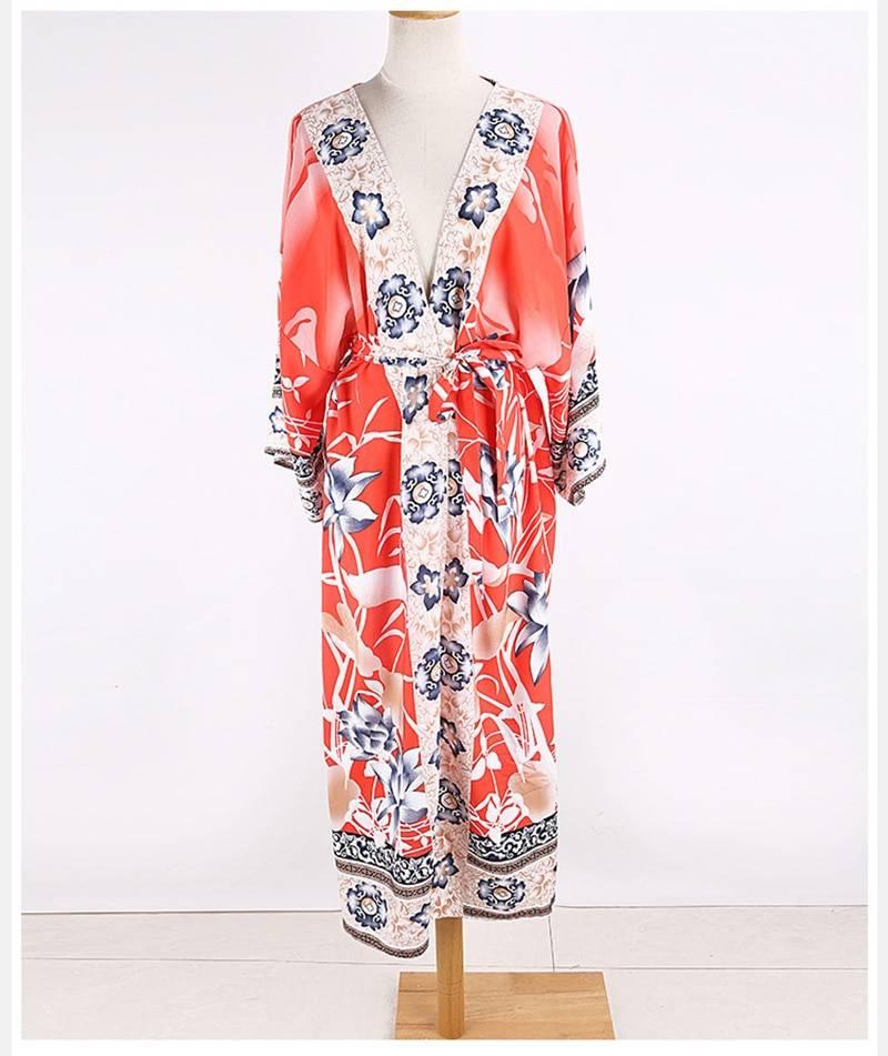 Vintage print floral boho loose oversize kimono beach cover up