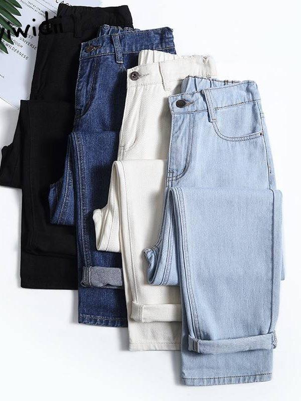4 color elastic waist high mom jeans pants