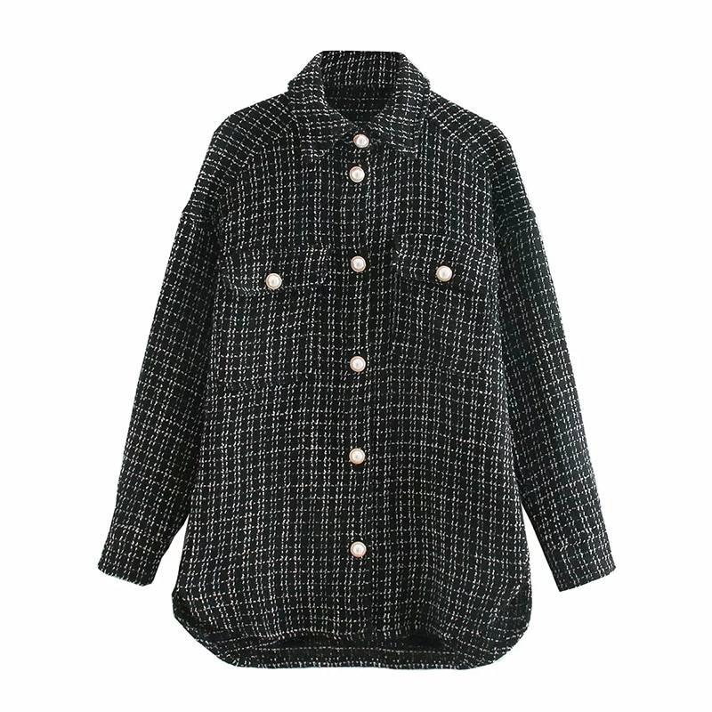 Vintage oversize plaid long shirt