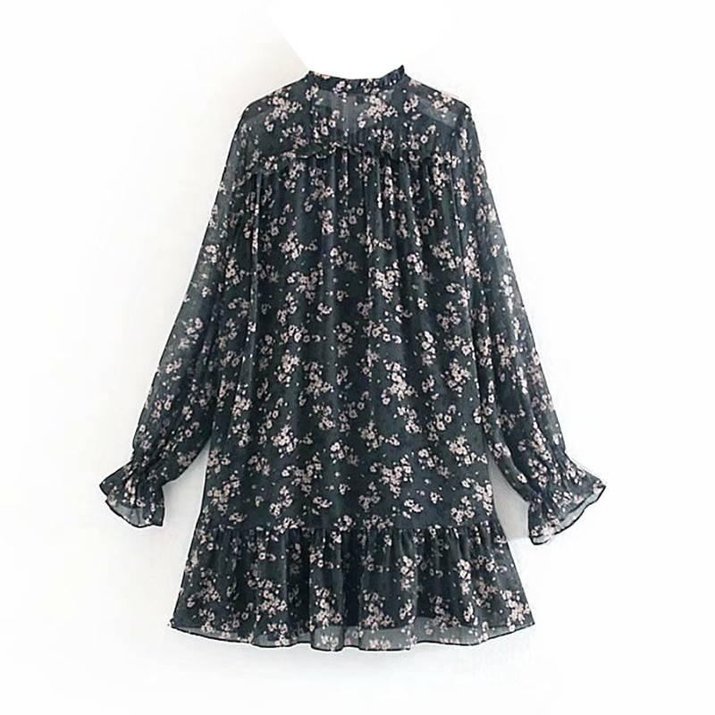 Vintage long sleeve loose ruffle bow tie mini floral print dress