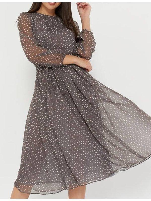 Elegant dot print long sleeve o neck chiffon a line dress