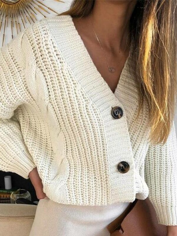 Long sleeve button knitted cardigan sweater