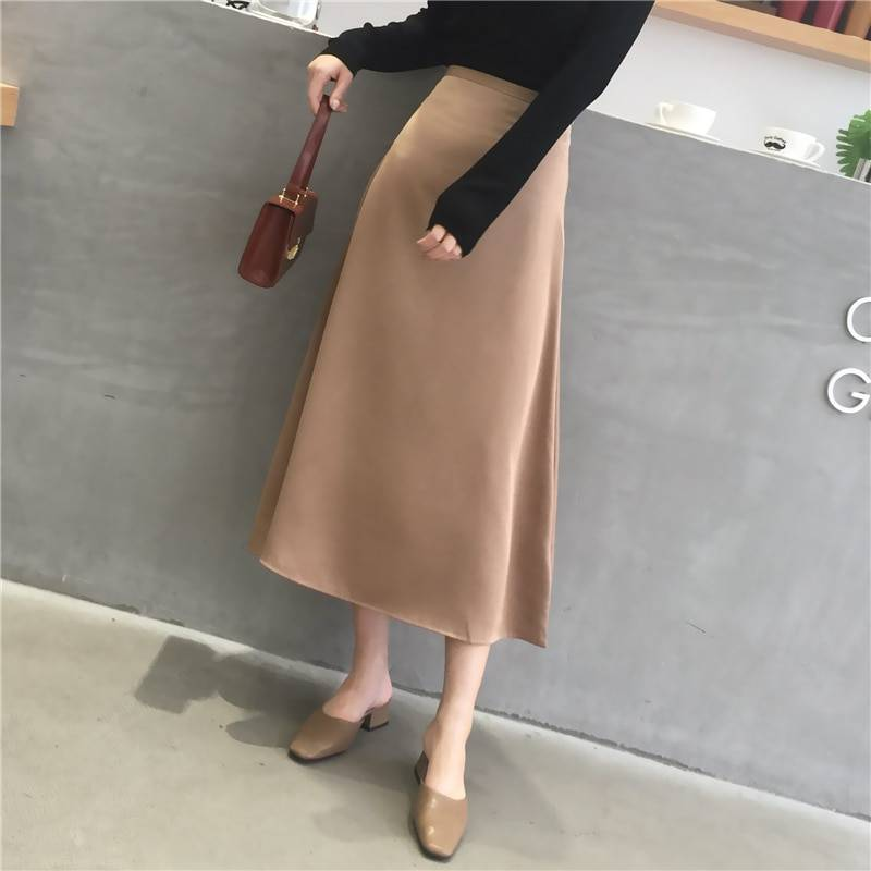Elegant glossy satin plain office high waist skirt