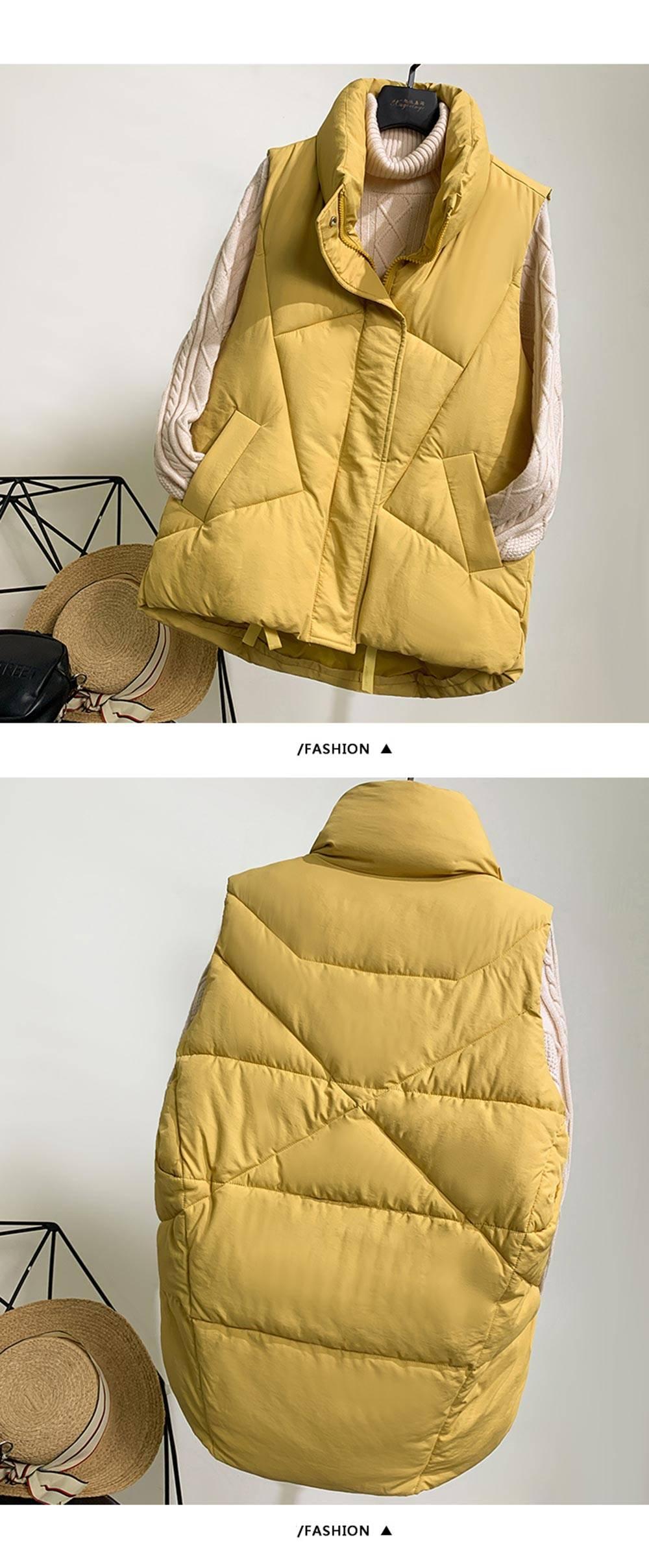 Stand collar cotton padded sleeveless jacket vest