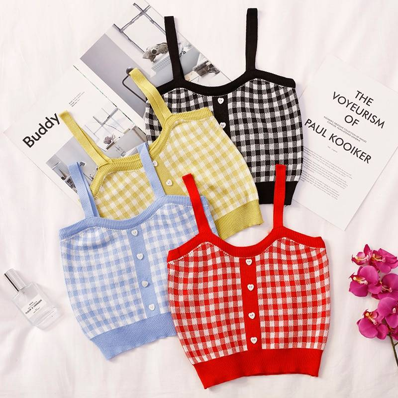 Sleeveless plaid crop top with buttons