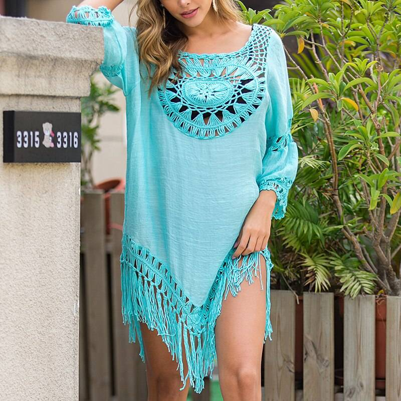 Black hollow out backless tassel cover up beach dress