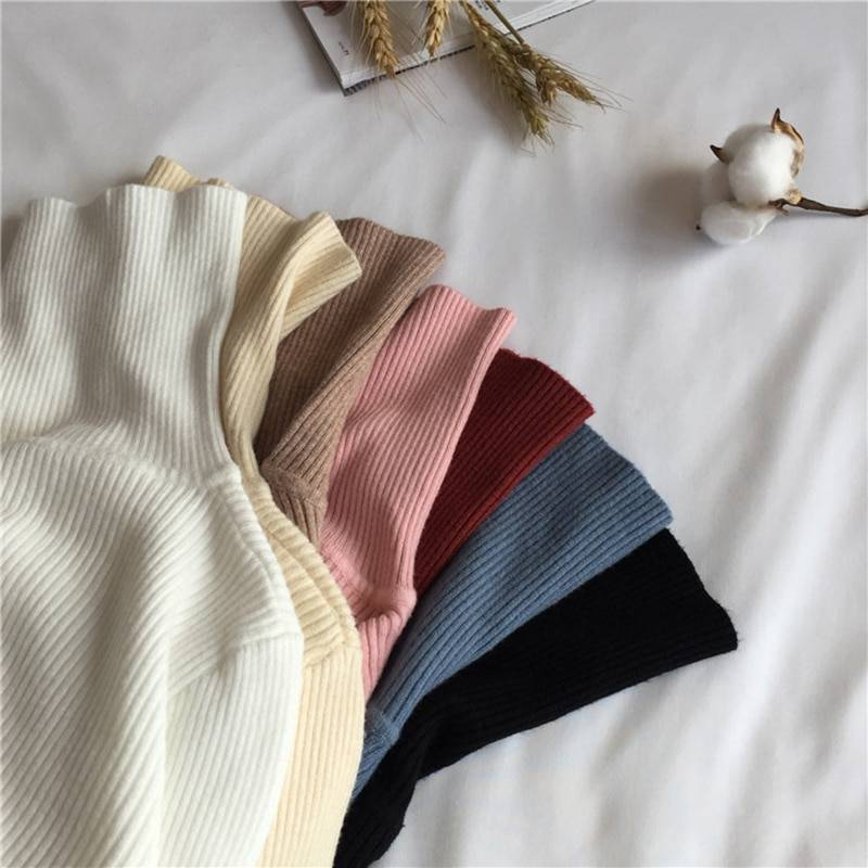 Knitted ribbed long sleeve turtleneck soft warm pullover sweater
