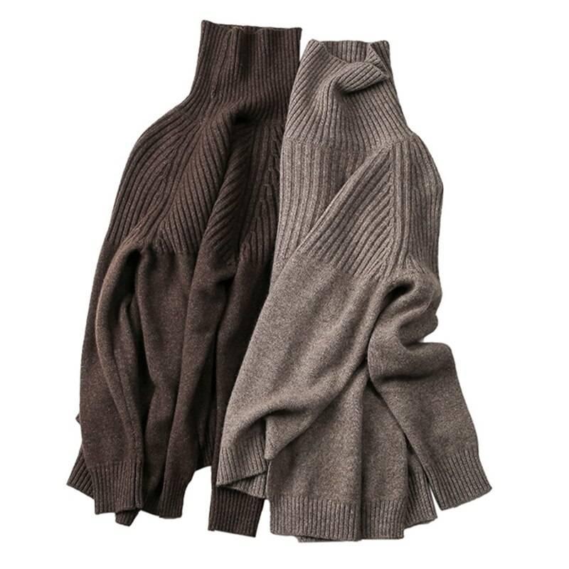 Turtleneck beige khaki sweater