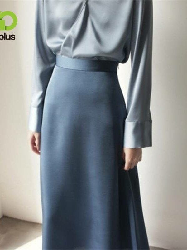 A-line satin blue black high waist ankle length skirt