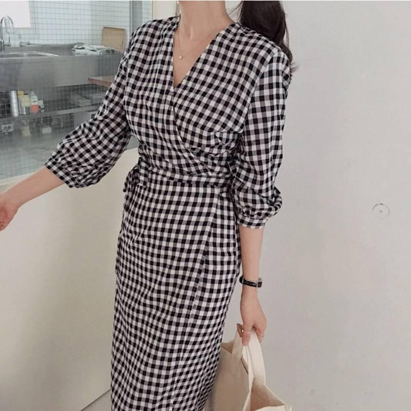 Lace up bow wrap v-neck three quarter sleeve high waist plaid dress