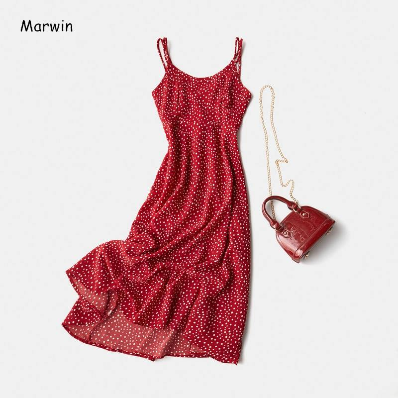 Cross spaghetti strap open back dot beach ankle-length dress
