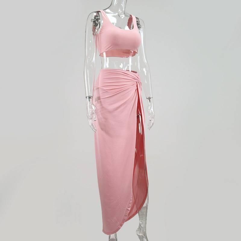 Crop top twist side split long skirt two piece set