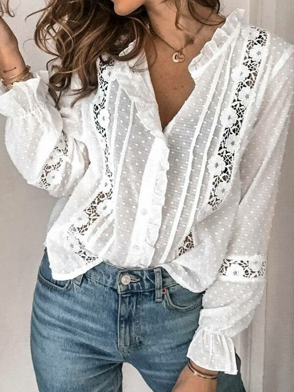 Vintage floral white hollow out lace long sleeve office blouse shirt