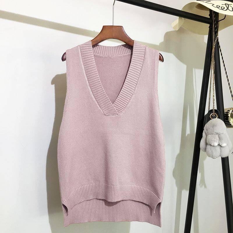 Sleeveless v-neck loose knitted vest