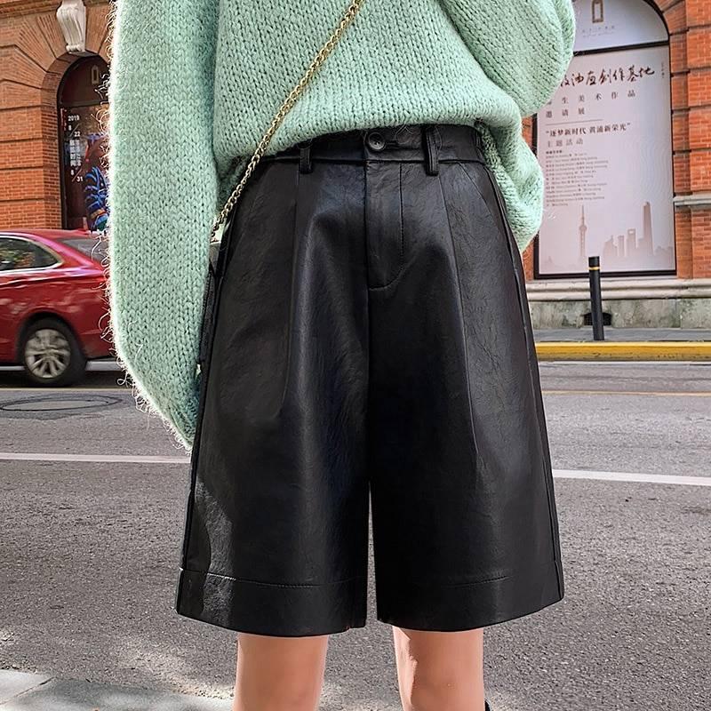 Pu leather elastic waist loose shorts