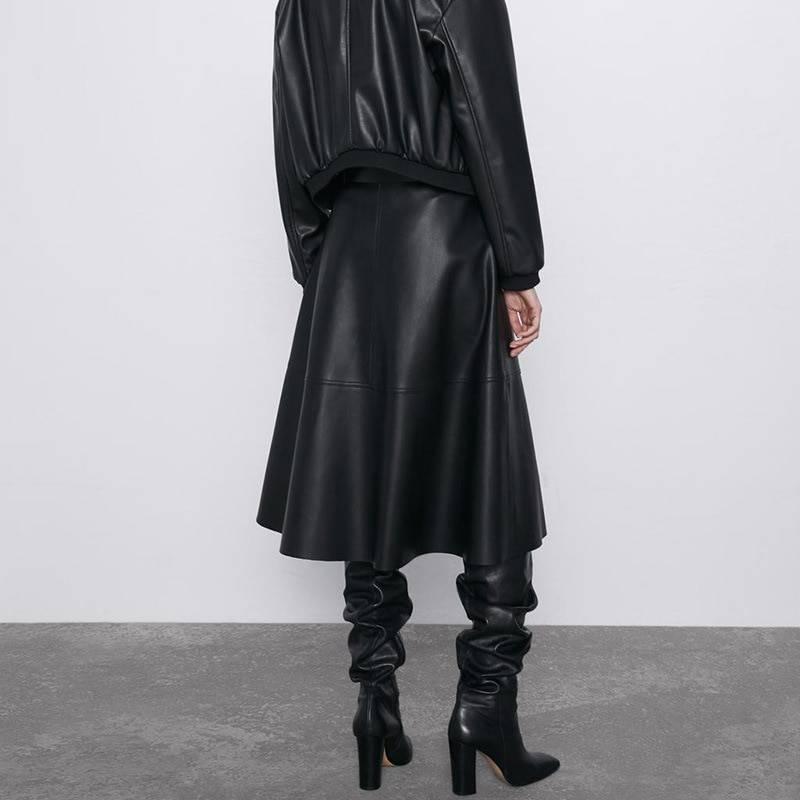 Vintage pu leather sashes a-line high waist flare belt midi skirt
