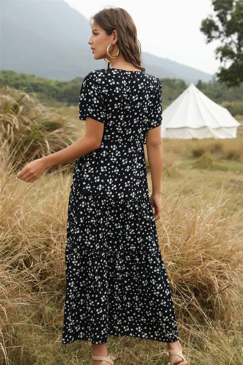 Elegant boho floral print ruffle short-sleeve v-neck long dress