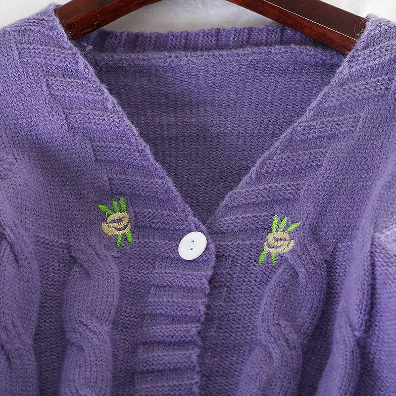 Loose v-neck lantern sleeve embroidery floral knitted cardigan sweater