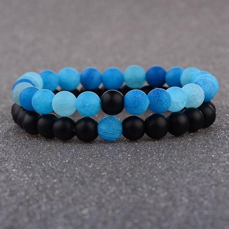 2pcs/set weathered stone beaded couple bracelet
