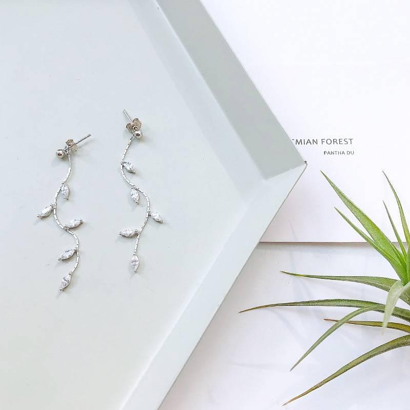 Silver plated crystal leaf tassel drop earrings