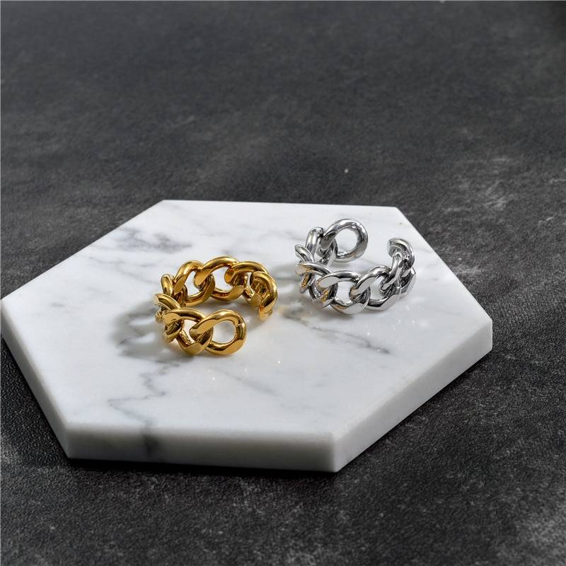Gold silver twisted geometric chain rings