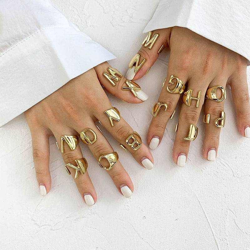 Gold initial chunky a-z letter rings