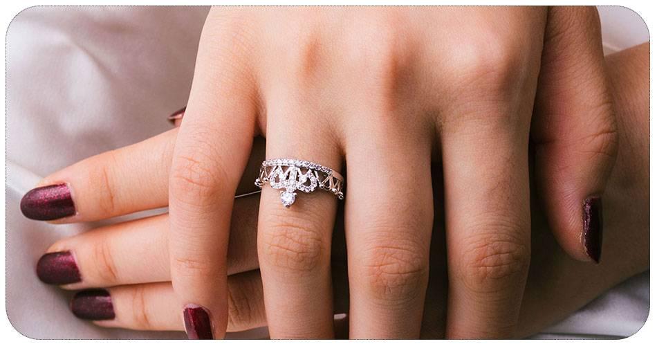Crown zircon rose gold wedding engagement promise ring