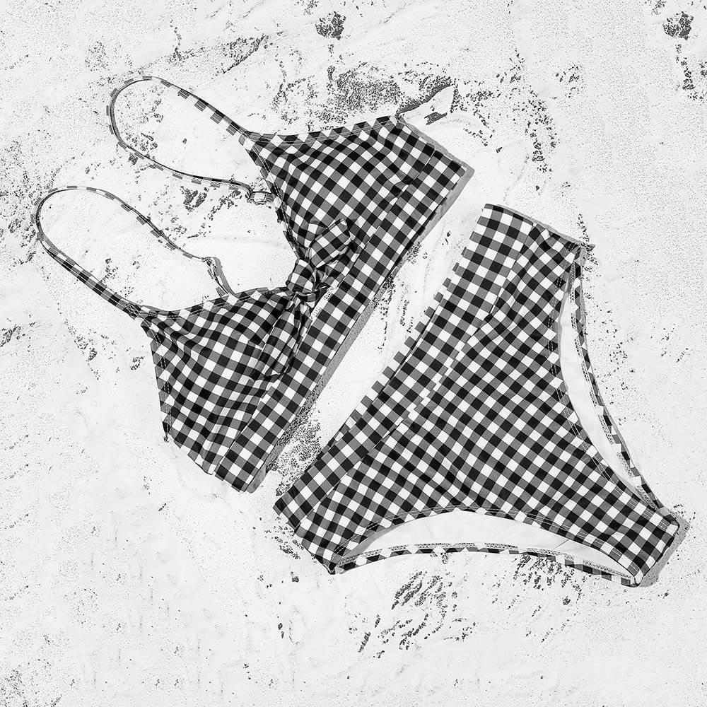 Retro bow plaid push up straps padded high waist bikini