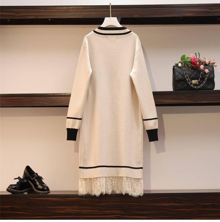 Patchwork lace long sleeve v neck mini straight knitting sweater dress