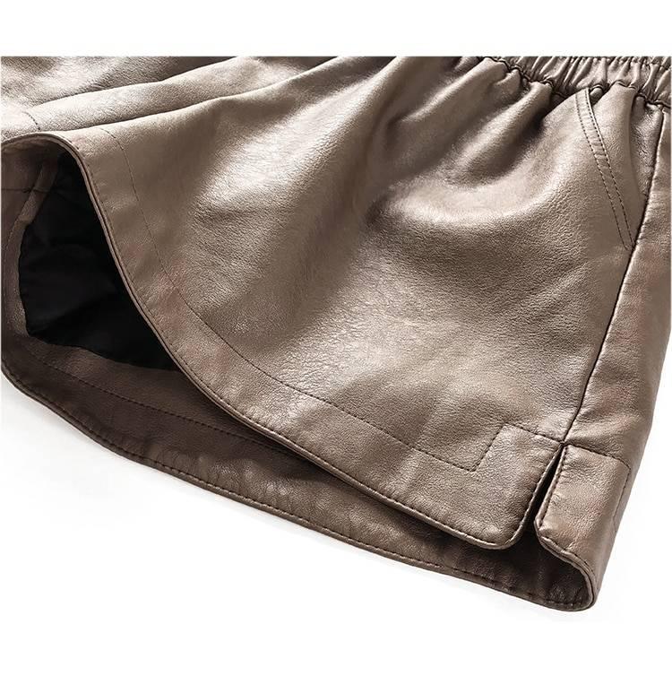 Khaki pu leather wide leg high waist loose shorts