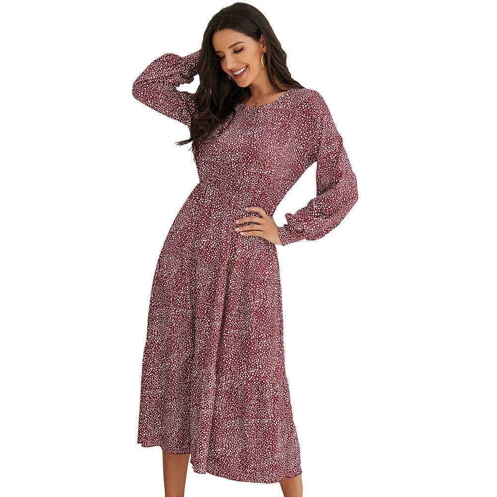 Polka dots puff sleeves boho dress