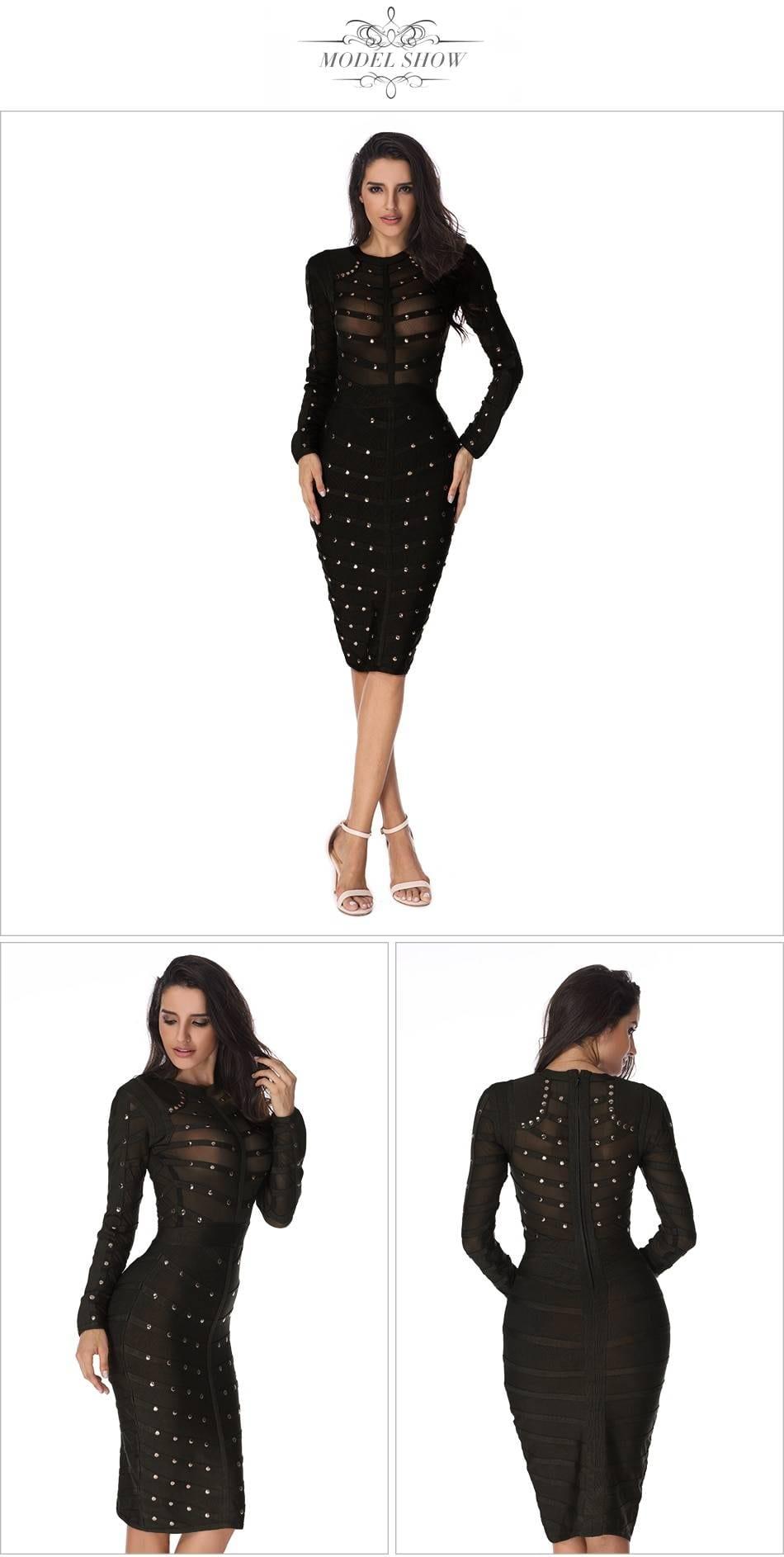 Black lace long sleeve mesh bead midi bodycon dress