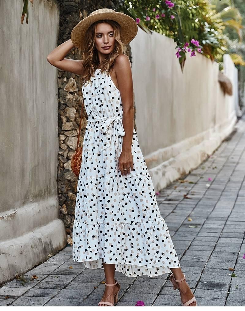 Dot print lace up high waist o neck long swing dress
