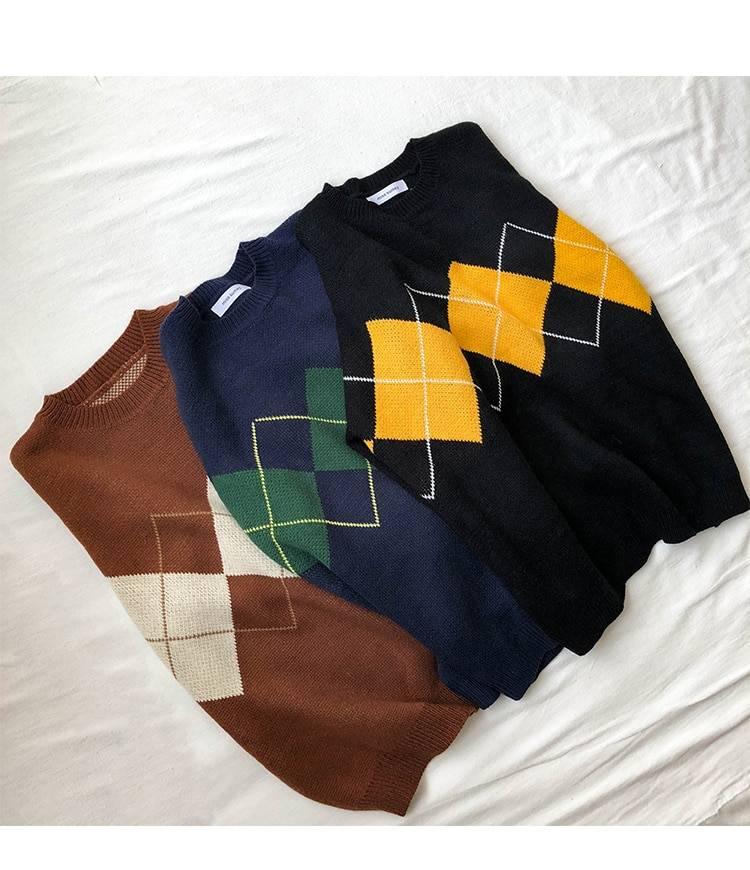 Geometric pattern basic long sleeve college sweater